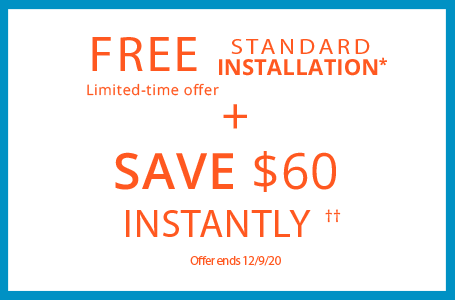 free standard installation and $60